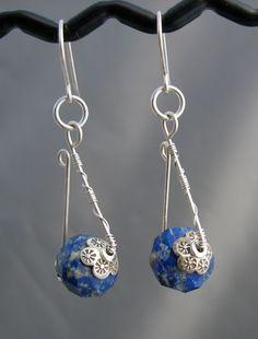 Artisan Blue Silver Wire Wrapped Earrings Lapis by lonerockjewelry, $35.00