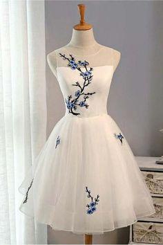 Cheap A-Line Short White Homecoming Dresses,Tulle Summer Prom Dresses for Girls OK409