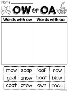 oa and ow worksheets and centers that are fun, hands on, and ...