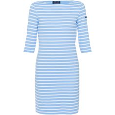 Saint James Propiano Ii Pale Blue Striped Dress ($175) ❤ liked on Polyvore featuring dresses, stripes, three quarter sleeve dress, blue stripe dress, blue striped dress, boatneck dress and bateau neck dress
