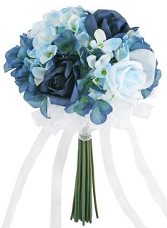 A delightful and delicate bouquet of roses and hydrangea blossoms. This small bouquet has 9 navy and light blue silk roses surrounded by numerous hydrangea blooms. The silk garden hydrangea is custom