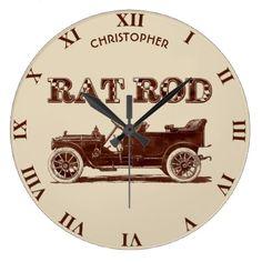 Retro Vintage Rat Rod Old School Cool Rusty Car Large Clock - retro gifts style cyo diy special idea
