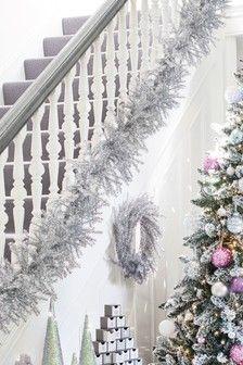 Silver Tinsel Garland Tinsel Garland Christmas Tinsel Silver Christmas Tree
