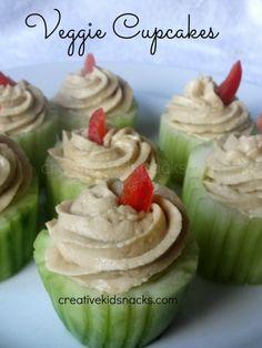 Cucumber & Hummus Veggie Cupcakes