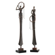 Uttermost 20194 Ring Dance 31 Inch x 6 Inch Steel Sculptures - Set of 2 Matte Black Home Decor Accents Statues & Figurines