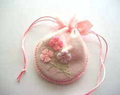 Gift Bag Pink Felt Jewelry Pouch with Hand Embroidered Felt Flowers Handsewn