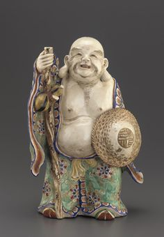 Satsuma ware figure of standing Hotei  second half 19th century