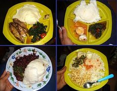 Nsima (I would call this the national Food of Malawi) Here are some different ways it is combined with other foods.
