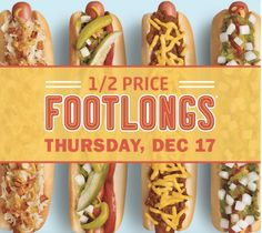 Sonic Drive-In Deal: Half-Price Footlongs Only) Sonic Drive In, Restaurant Deals, Half Price, Coupon Deals, Sunny Days, Hot Dogs, Ethnic Recipes, Coupons, Food