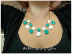 J. Crew Inspired Bubble Dot Necklace in Green/White Go to:  facebook.com/hotflairs  etsy.com/hotflairs
