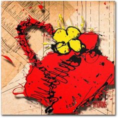 Trademark Fine Art Flower Purse Yellow on Red Canvas Art by Roderick Stevens, Size: 14 x 14, Multicolor