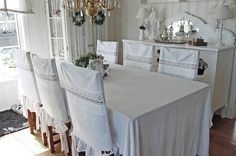 Vintage Pillowcases Used to Make Chair Back Covers! Superbe!