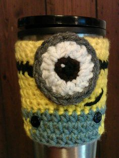 Minion Coffee Cozy by CreativeHooking on Etsy ...... even more adorable person!  I love it!!!!