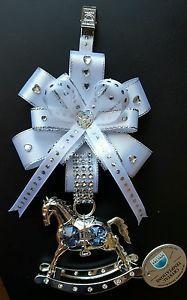 """PURE WHITE & SILVER"" UNISEX CRYSTAL ROCKING HORSE PRAM CHARM, CHRISTENING GIFT Pram Charms, Business Baby, Alphabet Beads, Baby Bling, Dummy Clips, Baby Prams, Christening Gifts, Pure White, Flower Crafts"