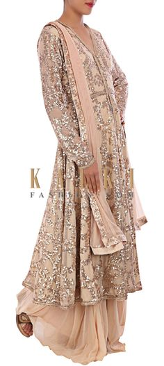 Buy Online from the link below. We ship worldwide (Free Shipping over US$100) http://www.kalkifashion.com/beige-outfit-adorn-in-sequin-embroidery-only-on-kalki.html