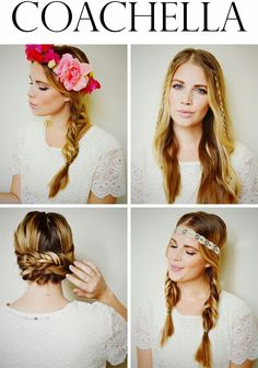 Hairspiration for Coachella - his little lady. TO CREATE: Part hair down the center and create loose fishtail braid pigtails, securing with small elastics. Take first braid, lay horizontal along nape bringing to opposite side and pin down with bobbi pin an inch behind ear. Repeat on other side and criss cross. Use as many bobbi pins as needed to help further secure your up-do. Tuck end pieces underneath braids near ear.