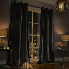Made from sumptuous, soft black two tone velvet these curtains ouze glamour and style.