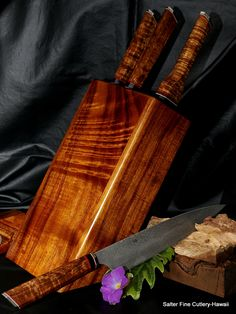 Handforged custom damascus stainless steel 4-piece chef knife set in knife block. Salter Fine Cutlery.