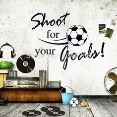 Large DIY World Cup Shoot Goals Soccer Wall Sticker Football Wall Decal for Kids Boys Room Decoration $9.99