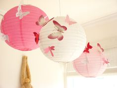 30 Butterflies, 3 Lanterns, Paper, Art,  Hanging, 3D,  Pink, White, Red, Nursery, Baby, Wedding Decor,Shower, Girls Room by SimplyChicLily