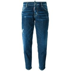 Dsquared2 'Hockney' jeans (£405) ❤ liked on Polyvore featuring jeans, blue, leather patch jeans, patching blue jeans, patch jeans, ripped jeans and destroyed jeans