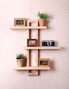 Modern Wall Shelf for Hanging Plants Books Photos. Bathroom Wall Shelves, Wooden Wall Shelves, Wall Shelf Decor, Wall Shelves Design, Rustic Shelves, Floating Shelves, Wall Wood, Unique Wall Shelves, Wooden Shelf Design