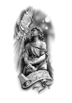 This beautiful picture and more of beautiful angels can always be seen in Christian . - This beautiful picture and more of beautiful angels can always be seen in Christianity. Jesus Tattoo, Christ Tattoo, Religion Tattoos, Forearm Tattoos, Body Art Tattoos, Sleeve Tattoos, Wing Tattoos, Statue Tattoo, Angel Tattoo Designs