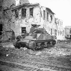 Disabled American M4 Sherman tank near Cassino, Italy, 1944.