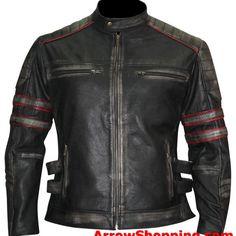 6149a74c27f Arrow Distressed Black Retro Jacket Cafe Racer Slimfit Vintage Biker  Leather Jacket - jkjls