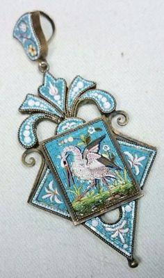 Micro-Mosaic-Stork-Bird-Antique-Victorian-Pendant-Italian-Grand-Tour-Vicotrian