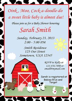 Barn Yard Farm Animals Red Cow Print Invitations by sharenmoments