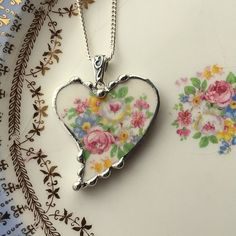 Broken china jewelry heart pendant necklace antique pink white roses made from a broken plate