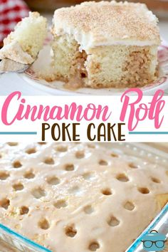 CINNAMON ROLL POKE CAKE Cinnamon Roll Poke Cake starts with a boxed cake mix, topped with a deliciously sweetenend cinnamon filling and topped with homemade cream cheese frosting! Cinnamon Cake, Cinnamon Rolls, Cinnamon Desserts, Cinnamon Coffee, Poke Cake Recipes, Dessert Recipes, Jello Poke Cakes, Cake Mix Ingredients, Fresh Strawberry Cake