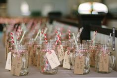 hand etched initials mason jars   stripy straws   bakers twine   cute hand stamped tags = adorable favors! | CHECK OUT MORE IDEAS AT WEDDINGPINS.NET | #weddings #weddinginspiration #inspirational