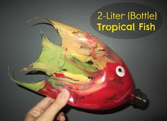 2-Liter {Bottle} Tropical Fish. Kids will have fun recycling an empty soda bottle into a beautiful fish! Tutorial at Relentlessly Fun, Deceptively Educational.