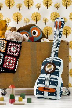 Owl cushion and guitar cushion, Ferm Living Kids Pillows, Throw Pillows, Owl Cushion, Nordic Design, Baby Decor, Danish Design, Pillow Design, Kids Furniture, Decoration