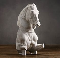 trojan horse as bookend Plaster Sculpture, Horse Sculpture, Horse Mask, Equestrian Statue, Trojan Horse, Ancient Artifacts, British Museum, Restoration Hardware, Illusions