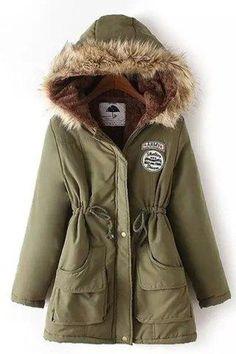 #RoseGal.com - #RoseGal Long Sleeve Fur Collar Hooded Lace Up Coat - AdoreWe.com