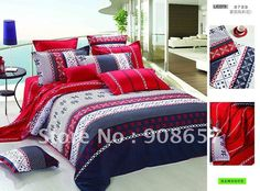 egyption cotton bedding red blue geometric prints purple quilt/duvet covers sets 4pc for full/queen comforter doona home textile-in Bedding Sets from Home & Garden on Aliexpress.com