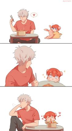 Anime: Gintama Personagens: Sakata Gintoki e Kagura Manga Anime, Anime Couples Manga, Anime Art, Gintama, Familia Anime, Comedy Anime, Okikagu, Dibujos Cute, Kawaii Chibi