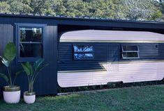 Three Birds Renovations - the best looking caravan makeover we have ever seen! Caravan Conversion, Shack House, Three Birds Renovations, House Renovations, Outdoor Awnings, Retro Caravan, Diy Caravan, Caravan Ideas, Caravan Renovation