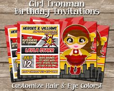 Do you or your loved one LOVE Marvel Comic's Iron Man from the Avengers? This custom birthday invitation print is perfect to send out for an upcoming birthday bash!