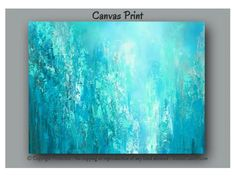 Abstract Wall Art, Teal Blue U0026 Green Canvas Print, Teal And Tan Home Decor Part 82