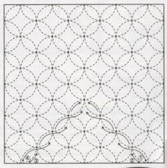 """Shippo-Tsunagi 203 13"""" x 13"""" sashiko sampler. Fabric only. You will need needles, thread and a sashiko thimble. One skein of Olympus Sashiko Thread will complete each sampler. Price: $11.45"""