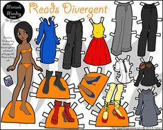 Divergent book paper dolls for all five factions, both in color and in black and white.