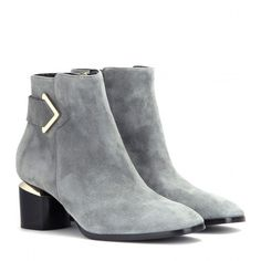 Nicholas Kirkwood Brannagh Suede Ankle Boots (¥95,575) ❤ liked on Polyvore featuring shoes, boots, ankle booties, ankle boots, heels, grey, grey suede boots, grey suede booties, suede bootie and gray suede boots