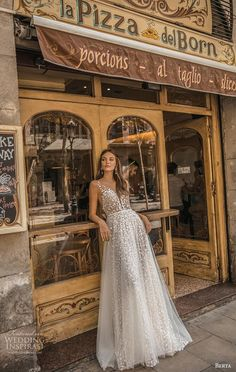 "berta fall 2019 muse bridal cap sleeves deep plunging v neck full embellishment romantic a line wedding dress sheer button back sweep train mv -- MUSE by Berta 2019 ""Barcelona"" Wedding Dresses Sheer Wedding Dress, Western Wedding Dresses, Affordable Wedding Dresses, Princess Wedding Dresses, Dress Lace, Embroidered Wedding Dresses, Modest Wedding, Berta Bridal, Bridal Gowns"