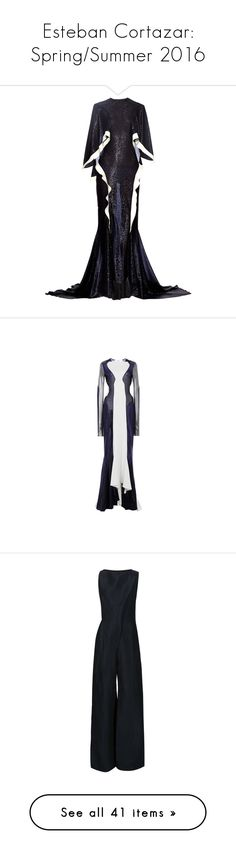 """""""Esteban Cortazar: Spring/Summer 2016"""" by livnd ❤ liked on Polyvore featuring collection, estebancortazar, springsummer2016, dresses, gowns, esteban cortazar, navy, white evening gowns, short sleeve evening gowns and navy blue short dress"""