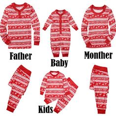 2704b84f0f Family Matching Christmas Pajamas Set Women Men Kid Baby Sleepwear  Nightwear Matching Family Christmas Pjs