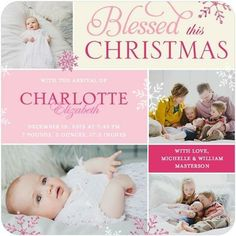 Perfect Blessing - Winter Girl Birth Announcements in Blushing Pink